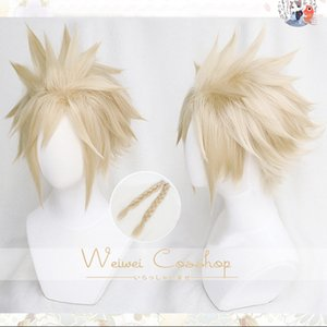 FF VII 7 remake Cloud Strife Linen Blonde Women Ver. Heat Resistant Cosplay Synthetic Hair Halloween Party Carnival + Wig Cap