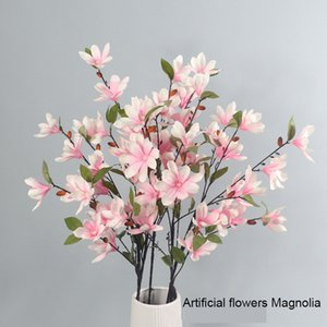 88cm Long Artificial Flowers Magnolia Fake Silk Flower for Home Decoration Wedding Wall Hotel Props Flower Arrangement Material