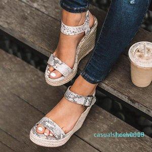 Летние сандалии платформы сандалии женщин Peep Toe Высокий клинья каблуки лодыжки Пряжки Sandalia Espadrilles Gladiator 2020 Новый c09 L16