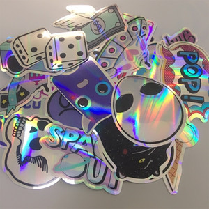 20Pcs Lot Cool Laser Star Stickers for Motorcycle Notebook Trolley Case Skateboard Colorful Skull Cross Dope Sticker Pack Decals