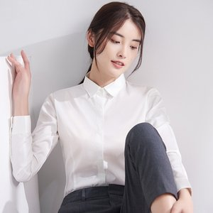 Autumn 2020 new Top women's long sleeve shirt square collar bamboo fiber non-ironing shirt solid color business slim top