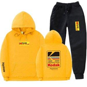 Erkek Japon Streetwear Kapüşonlular Tracksuits Spor Takımları Kodak Kapüşonlular ve Pantolon Casual Kazak Sport Suit ayarlar