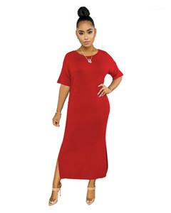 Summer Plus Size manches mi-longues de Split dames Robe Femme O-longueur cheville Vêtements Femmes Solid Color Robes