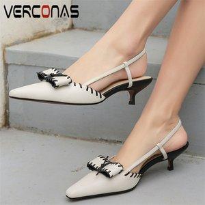 VERCONAS véritable noeud en cuir bout pointu talons épais femmes lacent Party Sandales d'été Brand Design Chaussures Femme Concise