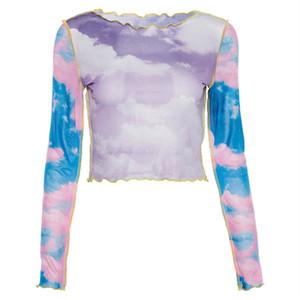 Blue Sky Cloud Print Transparent T-shirt à manches longues maille femmes Slim Basic Hauts T-shirts Casual Summer Party Fashion Club Top