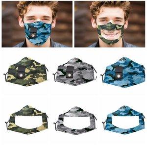 Máscara Camo Rosto com Limpar janela para ver a boca para melhorar a comunicação com furo para máscaras de boca de palha LJJK2423