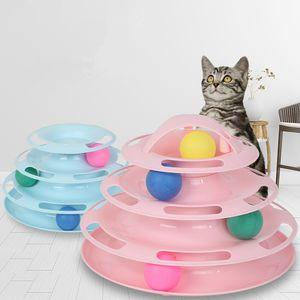 Haustier-Katze-Spielturm Tracks Disc Cat Intelligenz Amusement Scheibe Play Track Spielzeug Balltraining Amusement Teller