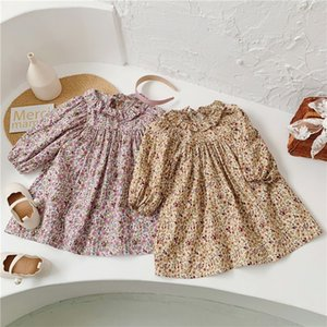 INS Spring Autumn Little Girls Dresses Lovely Floral Great Quality Long Sleeve Newest Quality Children Princess Dress Bountique Clothes