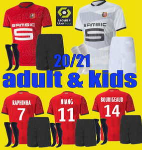 20 21 Rennes Soccer Jersey Men Kits Kits 2020 2021 Raphinha Niang Terrier J.martin Stade Rennais FC Bourigeaud Футбольные рубашки Униформа
