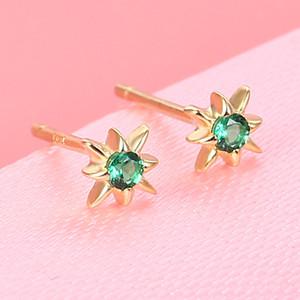 B 925 Sterling Silver Ear Stud Emerald Star Earrings Exquisite Small Qiao 18K Glittering Taiyanghua Ear Stud Moq1