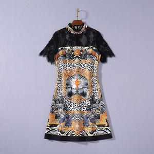2020 Verano de lujo más nuevo manga corta cuello redondo con estampado de leopardo con paneles de cintura del lazo Negro Encaje Mini vestido corto de pista vestidos JL082327