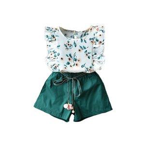 Meninas Designer Duas peças conjunto de meninas Moda Verão Ternos Crianças Lace mangas Top + solto Shorts cópia floral conjuntos de fatos Casual Hot Sale