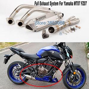 El sistema de escape Akrapovic MT07 llena de la motocicleta silenciador de escape de la cola del resbalón en MT07 MT07 Para FZ07 2014-2018 XSR700 c4iP #