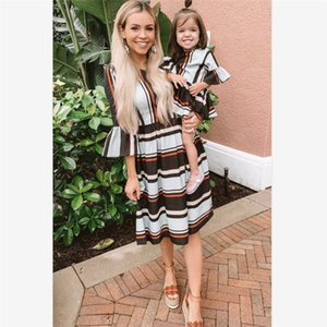 Family Matching Outifits Dresses Summer Mother Daughter Stripe Print Dress Mommy And Me Fashion Long Sleeve Dress Clothes