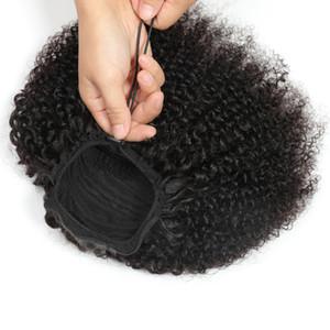 Alimagico coulisse Afro Kinky Curly Casilytail capelli umani non remy estensioni per capelli indiani coda di cavallo per afroamericano