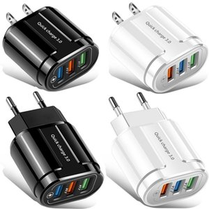 Quick Charge QC3.0 1 2 3 Portas USB Adaptador de energia do carregador de parede da UE para iphone 7 8 x XR Samsung Android Phone PC MP3