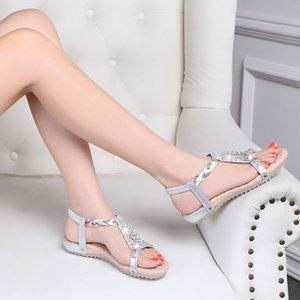 2020 New Explosive Women's Sandals Summer Boho Style Rhinestone Open Toe Flat Bottom Wild Soft Outdoor Soft Bottom Sandals
