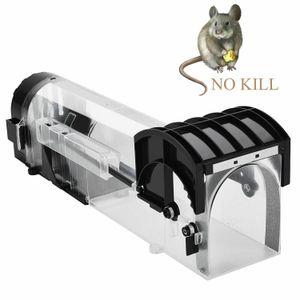 Trampa inteligente ratón reutilizable de plástico transparente Humane inteligente No matar roedores ratones Catcher rata viva de captación interior al aire libre Control de Plagas