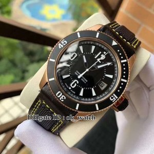 New Master Compressor Q2018470 Automatic Mens Watch Rose Gold Case Black Dial Leather Strap Ceramic Bezel High Quality Gents Sport Watches