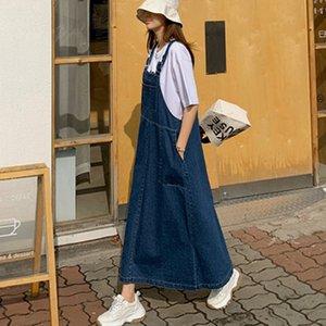LANMREM LANMREM 2020 neue Sommermode Frauen kleiden Denim sqaure Kragen Pullunder langes Kleid WL92705L verlieren