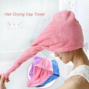 Gorros de baño de microfibra de secado rápido de la toalla de baño gorros de ducha toalla mágica absorbente estupendo cabello seco de pelo del sombrero del balneario del abrigo de baño DHC425