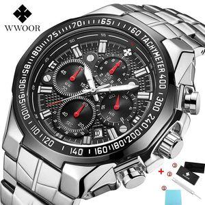 WWOOR Часы Мужские Top Brand Luxury Black Sport Chronograph Часы Мужская мода Большой циферблат кварцевые наручные часы Человек Relojes HOMBRE 2020 CX200805