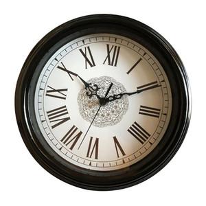 12 Inch Rodada Tempo Relógio de parede bateria Indoor Desenvolvido Estilo Vintage Quarto Pointer numerais romanos não Ticking Home Decor Hanging