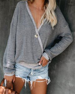 Natural Color Panelled Knits Casual V-Neck Long Sleeve Slim Knits Women Designer Clothes Womens Knits Fashion