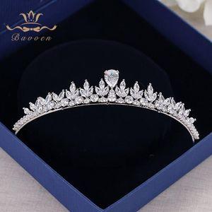 Bavoen Sparkling Zircon vestido de casamento Acessórios de cabelo de prata Brides Crowns Tiaras de cristal banhados a Hairbands Cabelo Evening T200522 Jóias