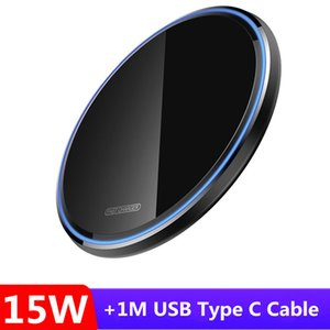 USB C Fast 15W Wireless Charger For Xiaomi Mi 10 9 Samsung S20 S10 Qi 10W Quick Charge Pad