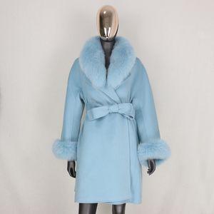 CXFS reale Fur Coat giacca invernale donne pelliccia naturale collare polsini cachemire misto lana lungo Outerwear cinghia allentata Streetwear