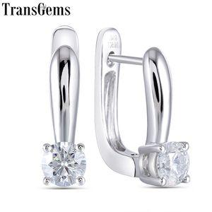 Transgems 14K White Gold 1.0CTW ct 5MM F Color Moissanite Hoop Earrings for Women Wedding Engagement Birthday Gift Y200620