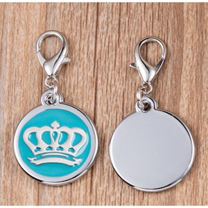 Blank Circle Pet ID Tags Dog Cat Name Tags 100pcs lot wholesale Zinc Alloy Crown Cat Pendants