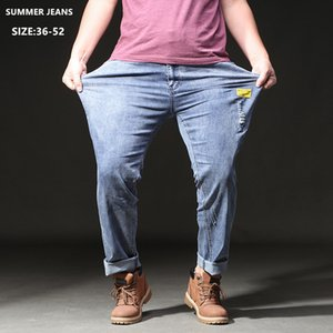 Stretch Jeans Men High Waisted Summer Pants Mens Distressed Ripped Plus Size 46 48 50 52 Oversized Loose Straight Denim Trousers
