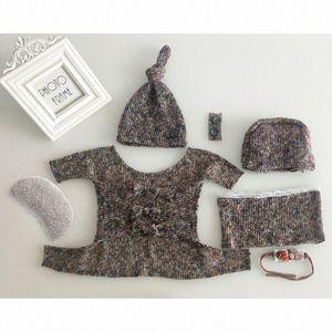 1set bébé extensible Wrap Top Knot Chapeau Bandeau du nouveau-né Photographie Props bébé Tenues Tir Costume douche cadeau tn2Z #