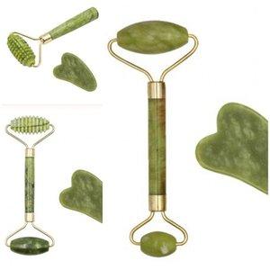 Natural Jade Rolo Massageador Manual de beleza Instrumento clássico Massor vara Guasha Scrapping Ferramenta Anti levantamento da pele Facial 5hh D2