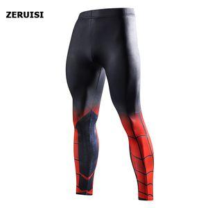 Superman Capitán América superhéroe para hombre gimnasia compresión polainas entrenamiento deportivo pantalones de los hombres pantalones de deporte Mallas de running Pantalones de chándal
