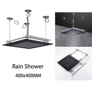 Vendita caldi del quadrato del soffitto Rainshower 400x400 mm di pioggia Bagno Doccia 304 nero dell'acciaio inossidabile Finitura Showerhead