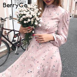 vestido de festa chique BerryGo mulheres elegantes vestido floral verão cintura alta do escritório do trabalho de impressão de manga longa vestidos de senhora Vintage