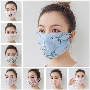 İpek şifon Kadınlar Yüz Eşarp Yaz Çiçek Yüz Maskesi Anti Toz Karşıtı UV Ağız yazdır Maske Kapak Yıkanabilir Kızlar Yüz Kalkanı Handkerchief Maske