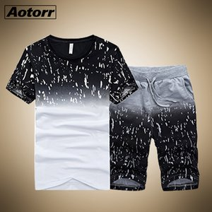 Tracksuit Male Men Clothing Sportswear Set Fitness Summer Print Men Shorts + T shirt Men's Suit 2 Pieces Sets Plus Size 4XL