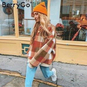 BerryGo Vintage lambswool plaid hoodies women O neck loose pullover female sweatshirt Autumn winter ladies warm coats MX200613