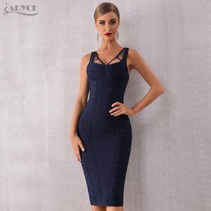 Adyce 2020 New Summer Bodycon Bandage Dress Women Blue Spaghetti Strap Sleeveless Celebrity Evening Runway Party Dress Vestidos