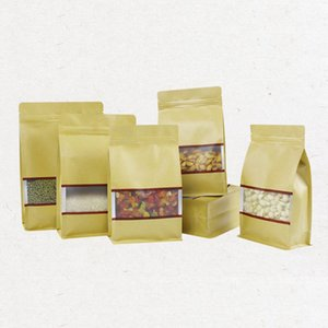 High quality Large Kraft paper Aluminum Foil bag with Clear Window Resealable Stand Up Bottom Zipper Retail Package Bag LX2048