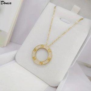 Donia Schmuck europäischen und amerikanischen Mode-Liebe zwei Farbe Titan plattierten Stahl Halskette mit Kreis eingelegten Zirkon als Geburtstagsgeschenk Necklac