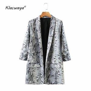 Klacwaya Women 2020 Fashion Serpentine Print Vintage golden Blazer Coat Ladies Long Sleeve Pockets Female Outerwear Chic Tops