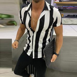 Sommer-Männer Mode Shirts Multicolor Striped Revers Shirts Kurzarm Spitzenbluse Mann-Hemd-beiläufiges loses Hemd Camisa Masculina