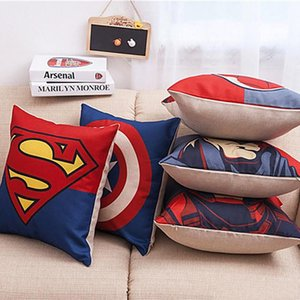 Avengers Yastık Kılıfı Karikatür Yastık Kılıfı Superman Batman Wade Baskılı Yastık Kapak Pamuklu Keten Yastık Kapak Noel Hediye Ücretsiz Toptan Eşya