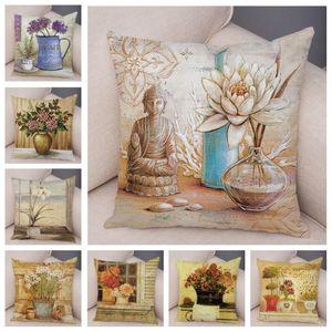Soft Plush Vintage Flowers Bonsai Cushion Cover for Sofa Home Car Decor Hand Painted Plant Floral Pillow Case Pillowcase 45x45cm