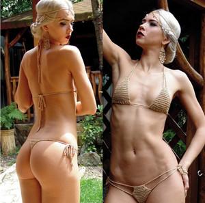 Set Abbronzarsi Bikini Bikini estrema mini sexy di mano del cotone di colore Crochet Micro Swimwear delle donne